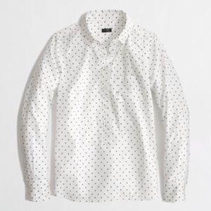 J. Crew Factory Voile Polka Dot Popover Shirt L